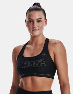UA Project Rock XL X-Back Warrior Sports Bra Black Gray 1355682