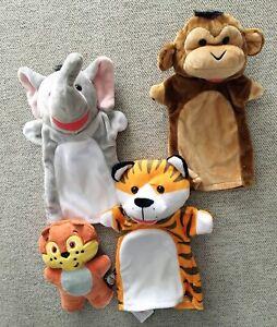 Melissa and Doug Plush Hand Puppets Lot Tiger Monkey Elephant + Fox Plushie