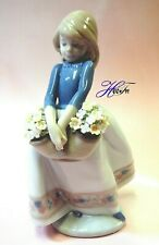 May Flowers Adorable Girl With Basket By Lladro Porcelain Figurine 5467