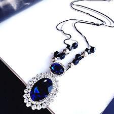 Large oval pendant long necklace blue silver black UK