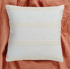 """QUINN CREME Pillow W/Down Fill Cottage Country Chic Gossamer Lace 18""""x 18"""" VHC"""