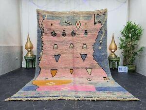 "Moroccan Boujaad Handmade Rug 6'2""x9'1"" Berber Abstract Faded Blue Pink Rug"