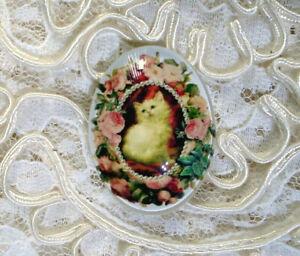 Kitten Roses & Pearls  30X40mm Glitter Unset Handmade Glass Art Bubble Cameo Cab
