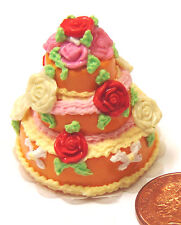 1:12 Scale Orange & Red 3 Tier Wedding Cake Tumdee Dolls House Miniature LWJ