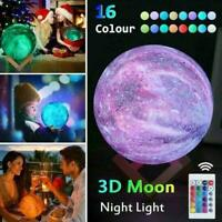 16 Colour Moon Galaxy Lamp USB Night Light Kids Dimmable Remote Control LED V1I2