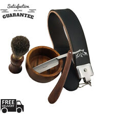 Sharpend Men Cut Throat Straight Razor Shaving Brush Strop  Gift Set