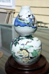 """Chinese Famille Verte Vase with Horse Riders and Kangxi 6 Character Mark H 5,1"""""""