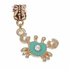 Crab Green Enamel Gold Tone Beach Rhinestone Dangle Charm for European Bracelets