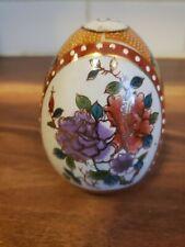 "Satsuma Porcelain Egg Hand Painted Gilt Moriage Floral 4.75"" Gold Gilt"