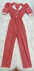 VIntage Pinstripe Jumpsuit Pantsuit Puff Shoulder Collar Elastic Waist Size S
