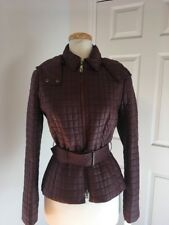 NWT WORTH New York Maroon Quilted Belted Jacket W/ Detachable Hood Size 4