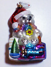 EuroVue LGBT Gay & Lesbian Pride Rainbow Bear Glass Christmas Ornament Poland