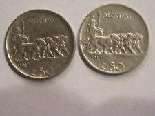 coppia 50 cent 1919 liscio e rigato