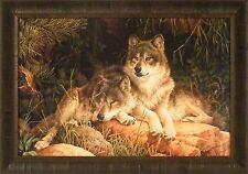 SOULMATES by Larry Fanning 24x34 Wolf Wolves Pine Trees FRAMED WALL ART PICTURE