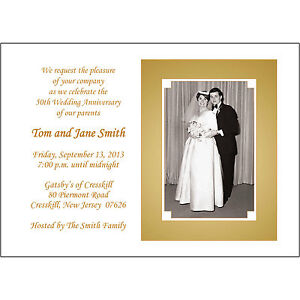 25 Personalized 50th Golden  Anniversary Party Invitations with Photo  - AP-018