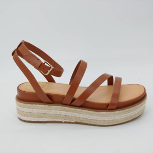 Vince Camuto Womens Aevie Espadrilles Sandals Brown Ankle Strap Buckle New