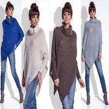 9 Damen Poncho Sweatshirt Pullover Cardigan Sweat Jacke Strickjacke Pulli Neu
