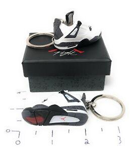 Hand Painted Retro OG Pair of 3D Mini Shoe Keychains Jordan 4 White Black