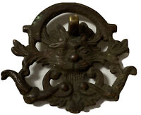 Antique Heavy Brass Lion Face Drawer Pull *Missing Ring Pull +Screw*Patina Wow!