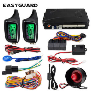 EASYGUARD 2 Way Car Alarm System remote Start LCD Pager Display vibration alarm
