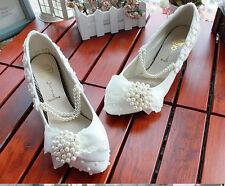 Decolté decolte scarpe donna ballerina bianco pizzo sposa 3.5, 4.5 8.5 cm 8527