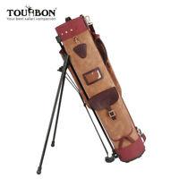 Tourbon Vintage Golf Standbag Golfschläger Golftaschen aus Wachs Leinwand&Leder