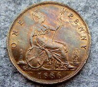 GREAT BRITAIN QUEEN VICTORIA 1886 ONE PENNY, HIGH GRADE