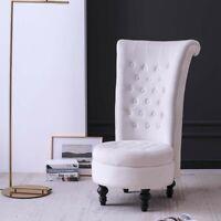 Velvet Accent Ottoman Chair Upholstered High Back Armless Sofa Living Room Beige