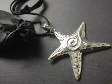 Large Statement Tibetan Starfish pendant on long Suede necklace Lagenlook