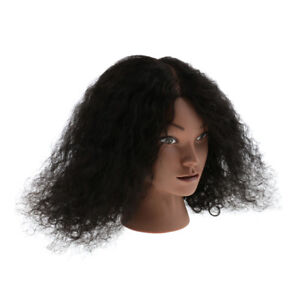 Afro Cosmetology Silicone Practice Training Mannequin Head Doll Human Hair