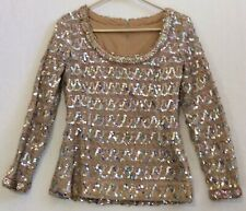 Vtg 60s Lilli Diamond California Beige Long Sleeve Multi-Color Sequin Top Size 8