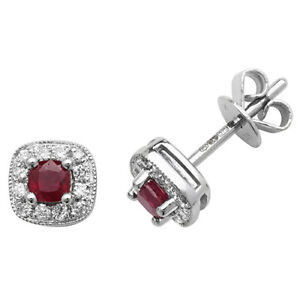 9ct White Gold Cushion Shaped Ruby and Diamond Studs