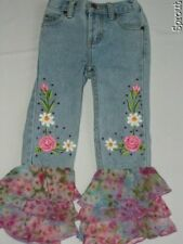LIPSTIK denim jeans spring GORGEOUS!! GUC 3T flowers beads
