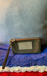 Michael Kors Brown & Beige Multi Coated Canvas CC SIG Double Zip Wristlet