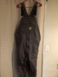 Carhartt Gray Bib Men's Overall , 36x 32 - Grey