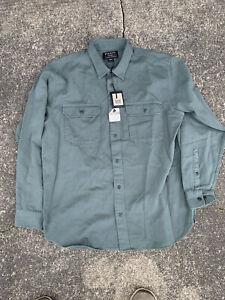 NWT Filson Chino Work Shirt 100% Cotton twill Green Mens Size XL Long Sleeve