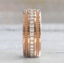 Moissanite Solitaire Women Eternity Wedding Anniversary Band 10k Rose Gold Over