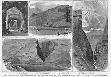 INDIA Views at the Chappar Rift on the Quetta Railway - Antique Print 1886