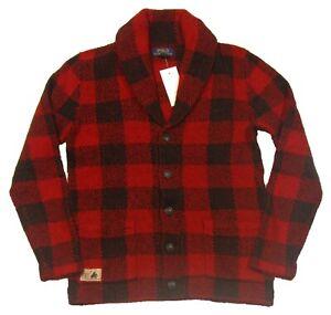 Polo Ralph Lauren Boys Red/Black Check Wool Blend Button Cardigan Sweater