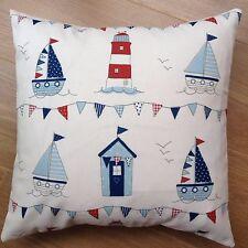 "New Fryetts Blue Maritime Boats huts Seaside Fabric Scatter Cushion Covers 16"""
