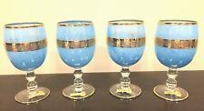 INTERGLASS Italian Blue Marbled 24K Gold Crystal Wine/Goblet Glass SET OF 4