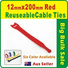 100 x Red Reuseable Cable Ties 12 x 200mm Magic Wrap Strap