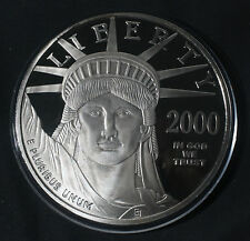 2000 4 OZ LIBERTY  .999 FINE SILVER ROUND W/ PLATINUM LAYER LOT A