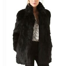 Warm Mink Jacket Ladies Winter Mac Long Sleeve Outerwear Fox Faux Fur Coat Size Black 10