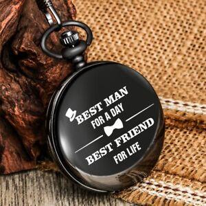 Men Quartz Pocket Watch Black Case Analog Necklace Chain Gift Casual Luxury Mens