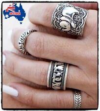 4PCS Silver Punk Vintage Elephant Ring Women Retro Finger Rings Boho Style Set