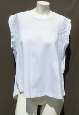 BANANA REPUBLIC White Soft Cotton Lace Yoke Cap Sleeve Tee Shirt Top size L EUC