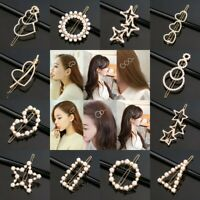 Fashion Girls Crystal Pearl Clip Snap Barrette Hairpin Bobby Hair Accessories