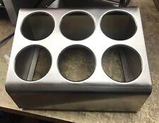 6 Hole Countertop Stainless Steel Silverware Cutlery Holder Organizer Box Bin