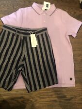 NWT Janie and Jack boy SUMMER 2-piece navy striped shorts lavender polo SET 10